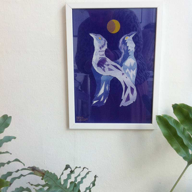 """H for Hamide: Nightbirds"" print in frame"
