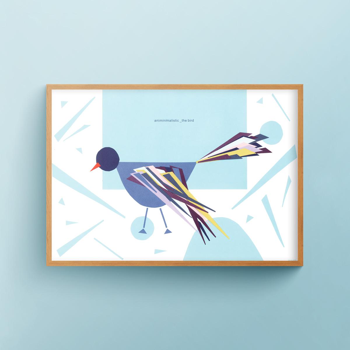 """Animinimalistic: the Bird"" art print in wooden frame"