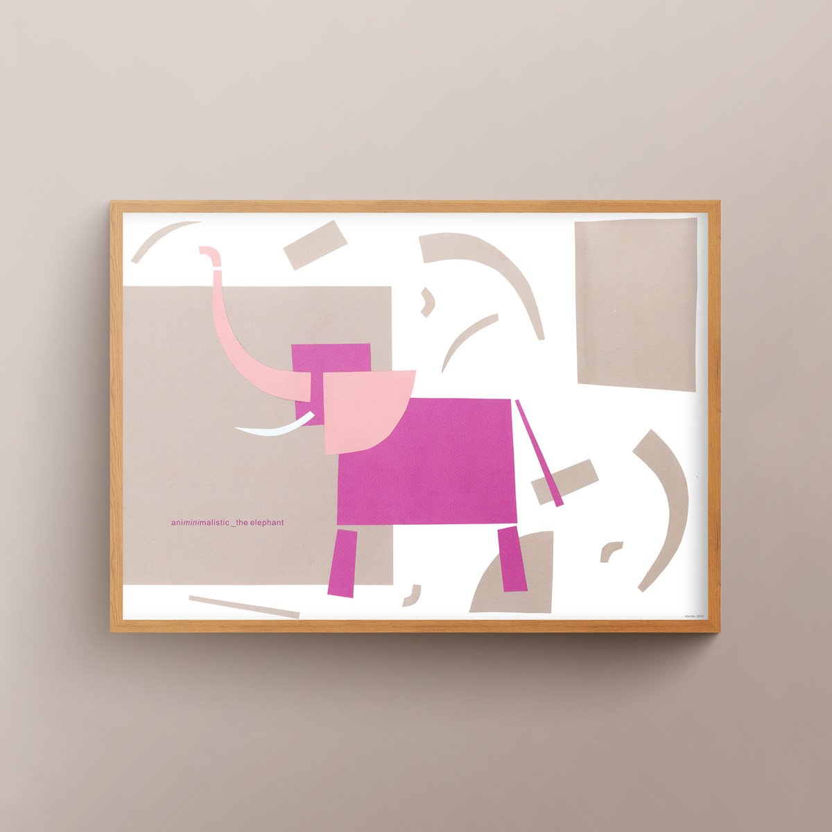 """""""Animinimalistic: the Elephant"""" art print in wooden frame"""