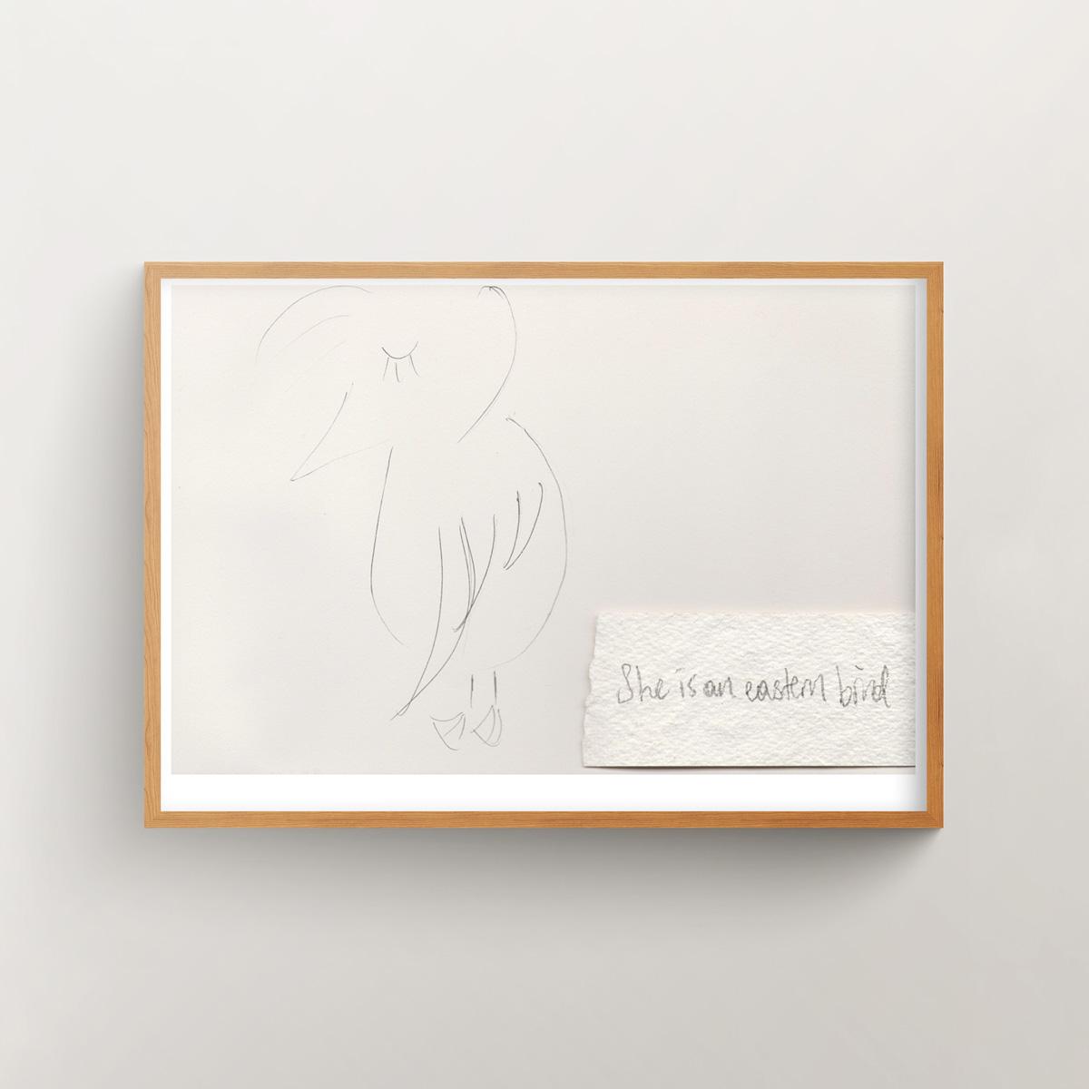 """She is an Eastern Bird 1"" art print in a wooden frame"