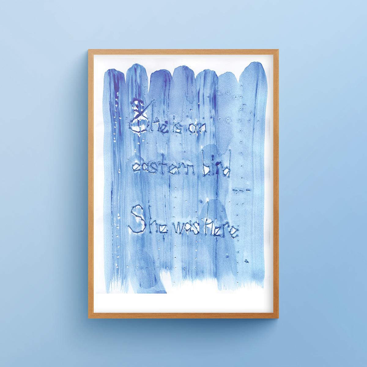 """She is an Eastern Bird 2"" art print in a wooden frame"