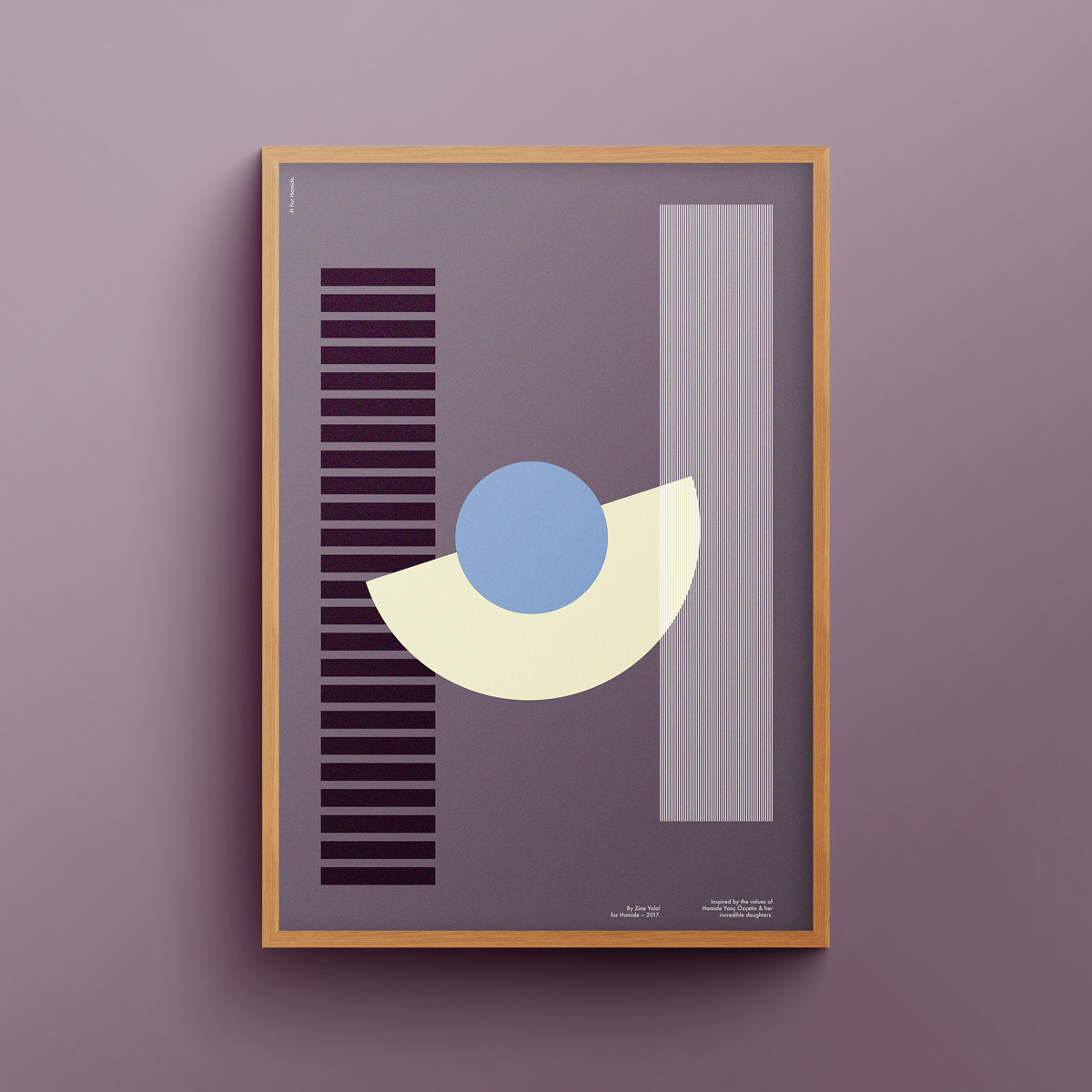 """H for Hamide: Constructive"" art print in wooden frame"