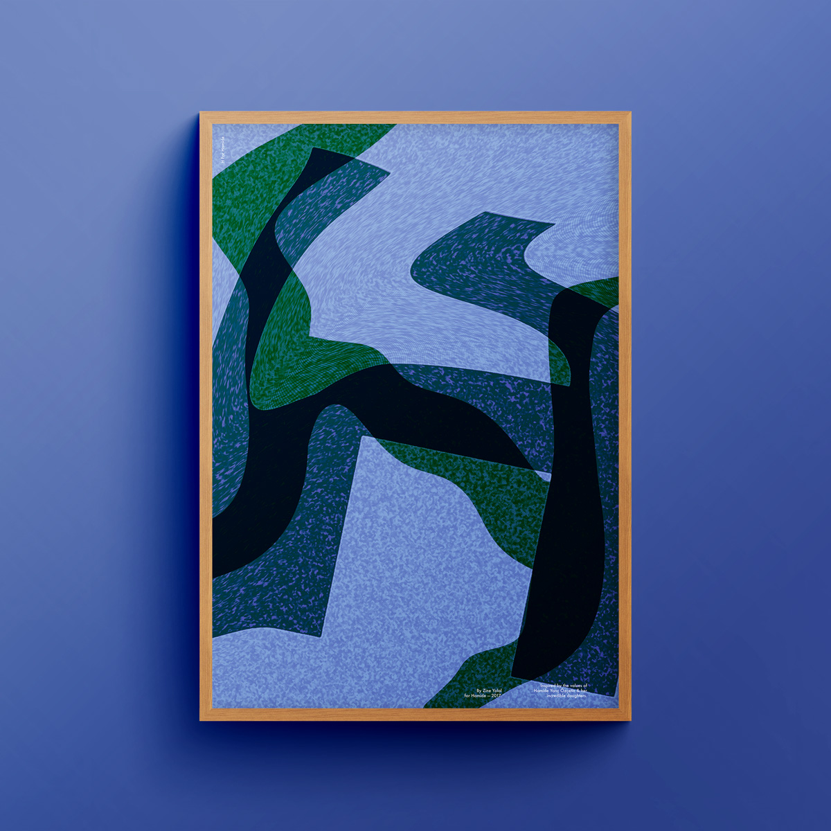 """""""H for Hamide: Glitched Layers"""" art print in wooden frame"""