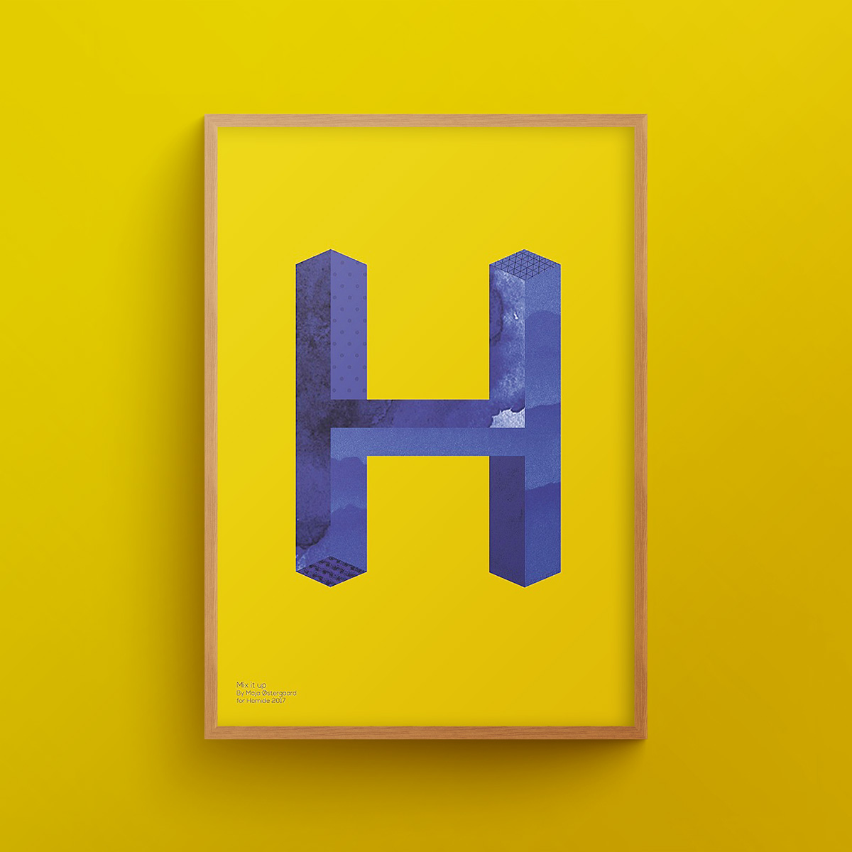 """""""H for Hamide: Mix It Up"""" art print in wooden frame"""