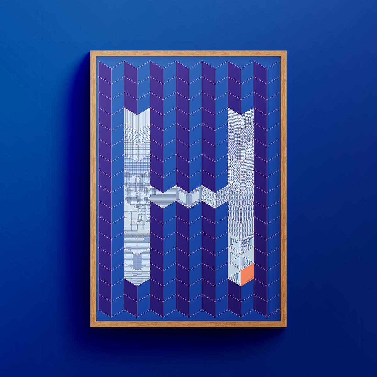 """H for Hamide: Patchwork"" art print in wooden frame"