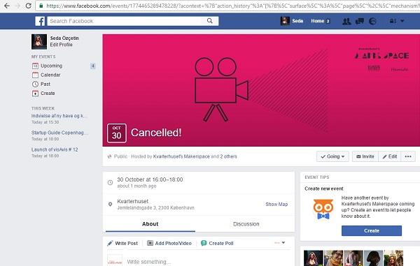 Screenshot of Facebook event page of Kvarterhuset's Makerspace