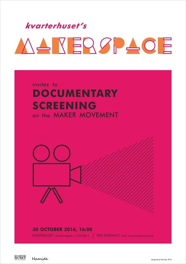 Poster of documentary film screening by Kvarterhuset's Makerspace