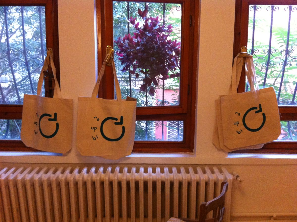 Re-Up-Bi-Cycle bags drying after silkscreen printing