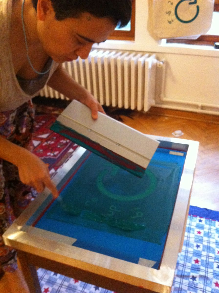 Silkscreen printing process of Re-Up-Bi-Cycle bags