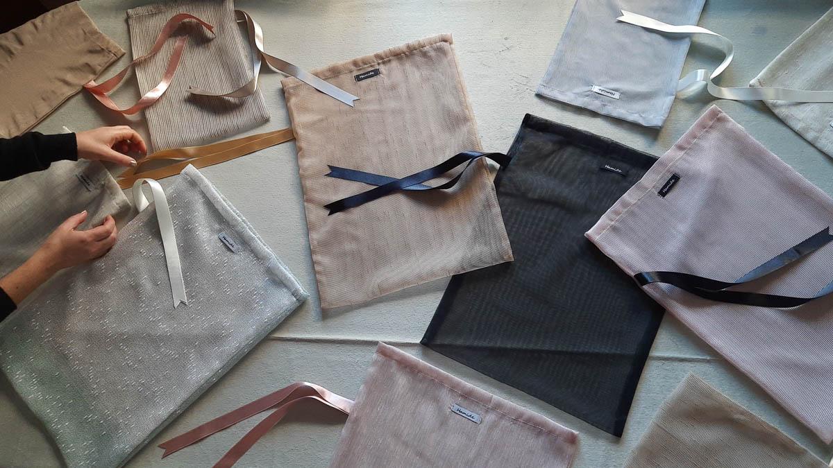 A spread of Hamide Originals Tulle Sacs