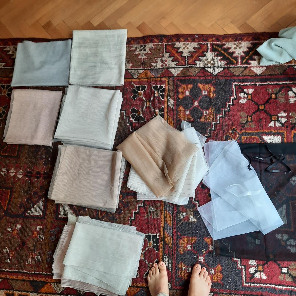 Fabric sorting process of Hamide Originals Tulle Sacs